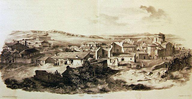 Η περιοχή του Θησείου και του Ψυρρή με την εκκλησία των Αγ. Αναργύρων, κατοικίες και σκηνές της καθημερινής ζωής σχεδιασμένα από τον August Ferdinand Stademann και λιθογραφημένα για την έκδοση Panorama von Athen, Μόναχο 1841 (Aθήνα, Μουσείο Μπενάκη). O ναός των Αγίων Αναργύρων είναι του 11ου αι. και ανήκει στον τύπο του σταυροειδούς εγγεγραμμένου αλλά με ιδιότυπο εξάπλευρο τρούλλο, που χωρίζεται σε δύο τμήματα με εξέχον γείσο.
