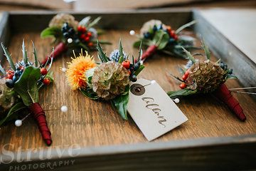 Photo from Heather and Allan collection by Struve Photography- Autumn wedding buttonholes by Narcissus Flowers Edinburgh