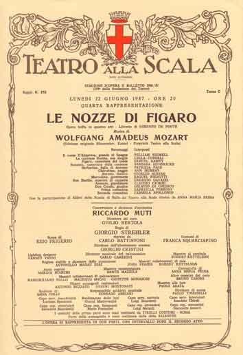 Le Nozze di Figaro, one of my favorite operas at La Scala