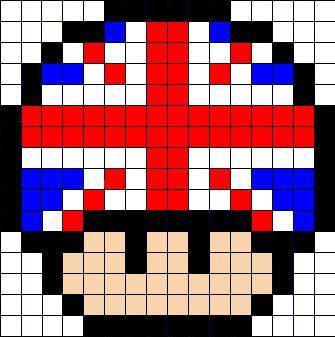 UK flag mushroom perler bead pattern