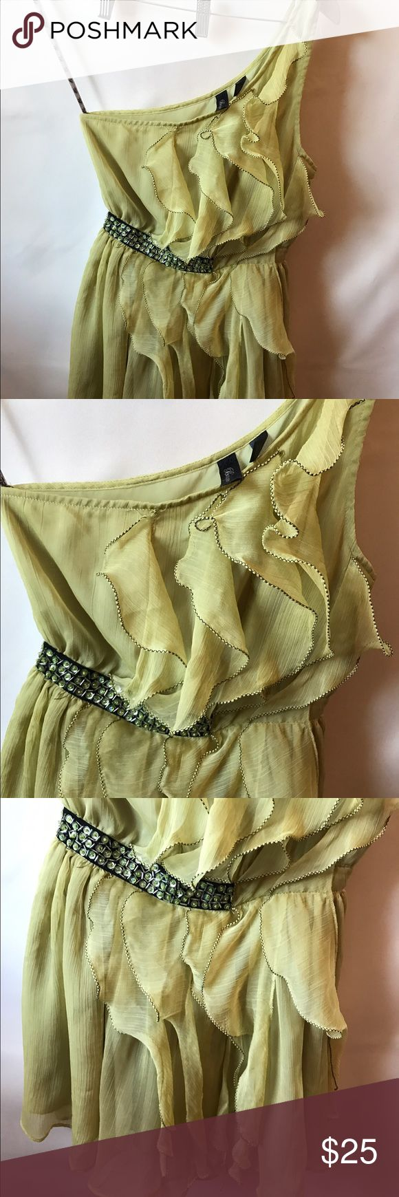 BKE Boutique lime green dress 🔥 One shoulder lime green BKE mini dress. BKE Dresses