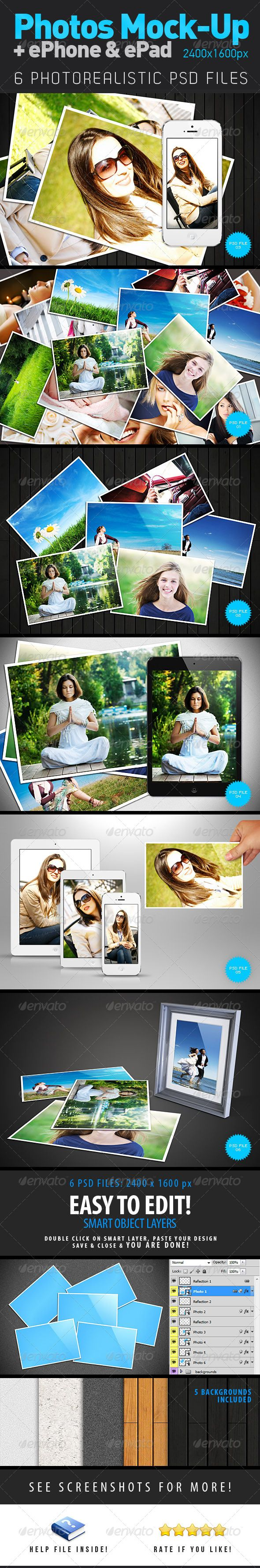 """Photos + ePhone + ePad Mock-Up  #GraphicRiver        Photos and new ePhone + ePad mini Mock-Up   6 Photorealistic PSD files with 10 MOCK-UPs! Easy to edit with smart layers! 5 Backgrounds included.   Use this concept for printed and digital images! Concept slogan: """"Print your digital photos from trips, parties, events, etc.""""   Help file included! PLEASE RATE & SUPPORT!                                                                       Created: 25March13 GraphicsFilesIncluded…"""