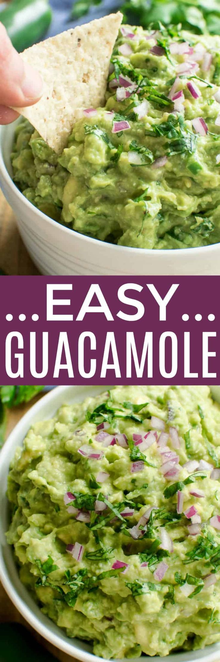 The BEST Easy Guacamole recipe - made with just a handful of ingredients and ready in minutes! This creamy guacamole has the perfect balance of cilantro, lime, and salt, and makes a delicious addition to any Mexican meal. Enjoy it with tortilla chips, veggies, nachos, or even your favorite sandwich. If you love guacamole, you'll LOVE this easy, delicious recipe....guaranteed to become a fast favorite! What is it about guacamole? Seriously....has there ever been anything better? I can (and...