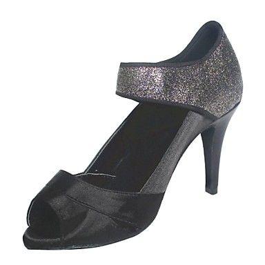 Customized Woman's Black Satin and Black Glitter Latin Shoes – USD $ 54.99