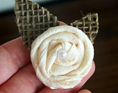 Image detail for -French Vanilla Waffle Cone -Fabric Rosette Boutonniere -Shabby Chic We ...
