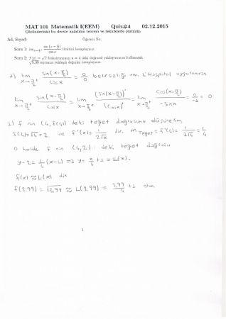 Matematik -1 4. Quiz Soru ve Çözümleri - EEM