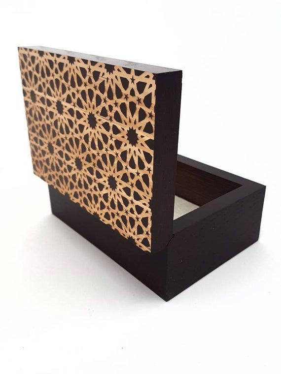 Arabic Islamic Art Geometric Wooden Box Eid Ramadan Gift Wooden Boxes Wood Gift Box Block Print Quilt