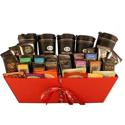 27 best coffee makes the perfect gift images on pinterest coffee coffee beanery office party gift basket a basket of goodies for the whole office includes negle Choice Image