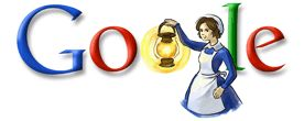 """Florence Nightingale's Birthday Google (May 12, 2008) - aka """"The Lady with the Lamp""""; pioneer of modern nursing, a writer and a noted statistician"""