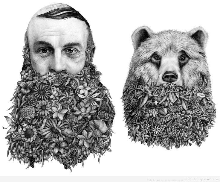 Ilustración Violaine & Jeremy de un hombre y un oso con barba