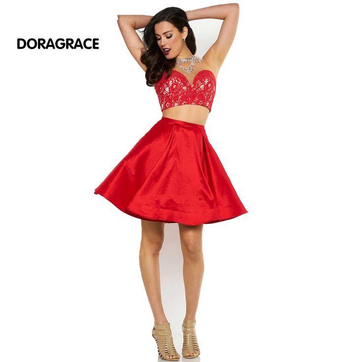 New Fashion High Neck Open Back Beaded Evening Party Dress Two Piece Cocktail Dresses Graduation Dresses DGC004