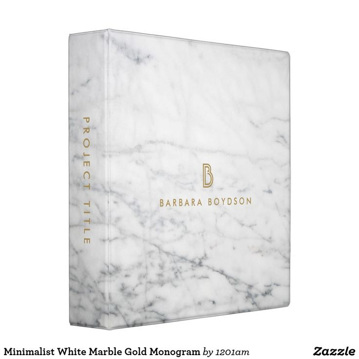 Minimalist White Marble Gold Monogram Binder - Personalize with your initial and name