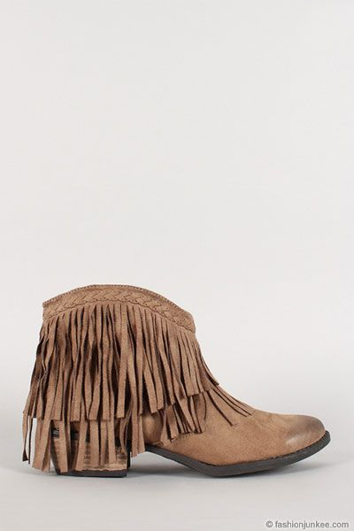 NOW IN STOCK!! Boho Indie Braided Faux Suede Fringe Ankle Booties-Taupe