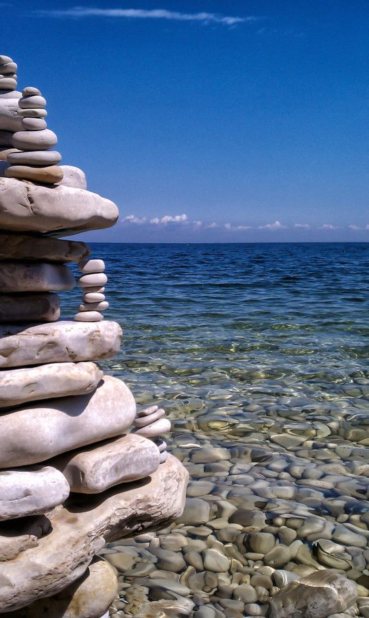 Summer Castles by an Inland Sea by Michael  McGee - Rock sculpture created with the white stones of Schoolhouse Beach on Washington Island on Lake Michigan.