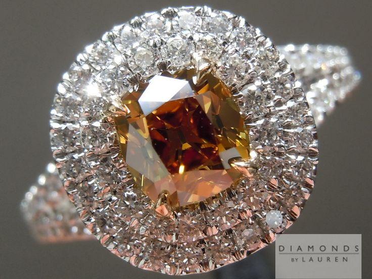 Diamond Ring - .76 ct old-mine brilliant cut brown/orange/yellow VS1 diamond in double white diamond surround - $8,995