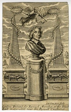 Frontispiece to William Winstanley, 'The lives of the most famous English poets, or, The honour of Parnassus' (London, H. Clark for Samuel Manship, 1687); portrait in form of bust of author in centre, wearing a wreath, with wreath around plinth below; obelisks on left and right, with wreaths, skeletons on their plinths, resting on books inscribed 'Homer', 'Ouid', 'Ennius', 'Pinder', 'Horate', and 'Virgil'; plaque on left plinth inscribed 'Chaucer'; plaque on right plinth inscribed 'Cowley'…