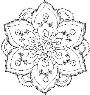 Hard Flower Coloring Pages - Flower Coloring Page. Mandala. Mandala para pintar. Mandala for painting