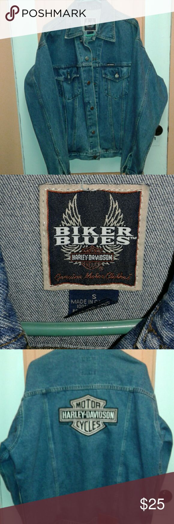 WOMANS/ MENS JEAN JACKET AUTHENTIC HARLEY DAVIDSON JEAN JACKET BIKER BLUES HARLEY DAVIDSON Jackets & Coats
