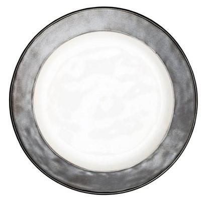 juliska emerson dinner plate has an old world luster with a hammered finish and is good for microwave dishwasher and freezer