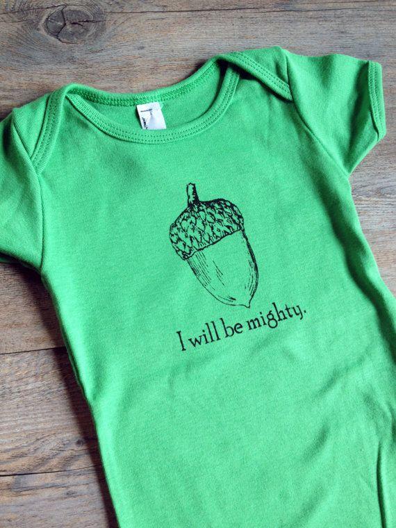 Cotton Baby Onesie Bodysuit - I Will Be Mighty Screen Print Acorn - Grass Green - Gender Neutral Gift Idea via Etsy