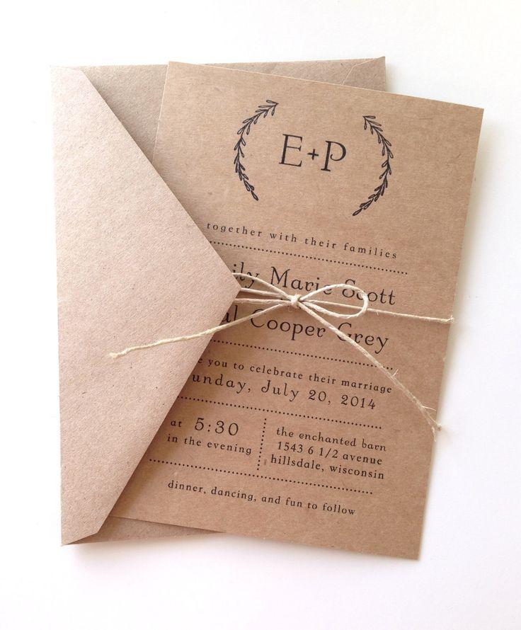 Rustic Laurel Wedding Invitations by LemonInvitations on Etsy https://www.etsy.com/listing/150123045/rustic-laurel-wedding-invitations