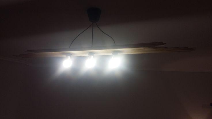 Wooden pendant ceiling - triple lamp