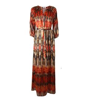 FLEUR B. FOUNDATION MAXI DRESS-  Multi. Silk satin maxi dress with 3/4 length sleeves www.fleurb.co.uk