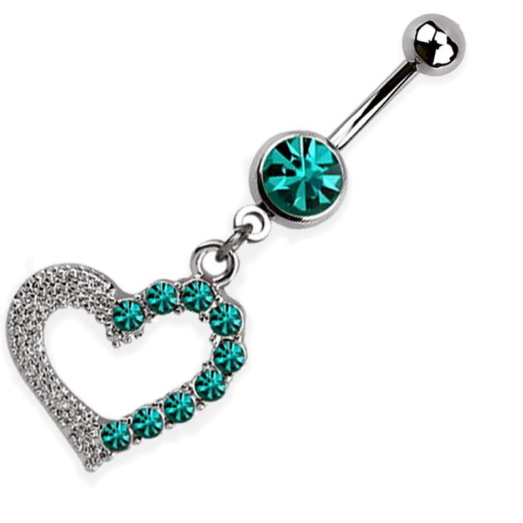 Türkiz szíves köldök piercing
