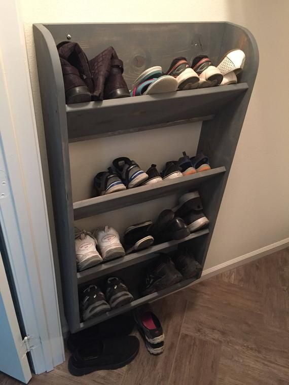 Ashley Kulp Custom Weathered Grey Wall Hung Shoe Rack Wall Mounted Shoe Rack Wooden Shoe Racks Hanging Shoe Rack