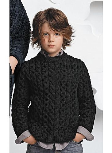 Wonderful French take on an Aran sweater for little gents. — James Cox Knits