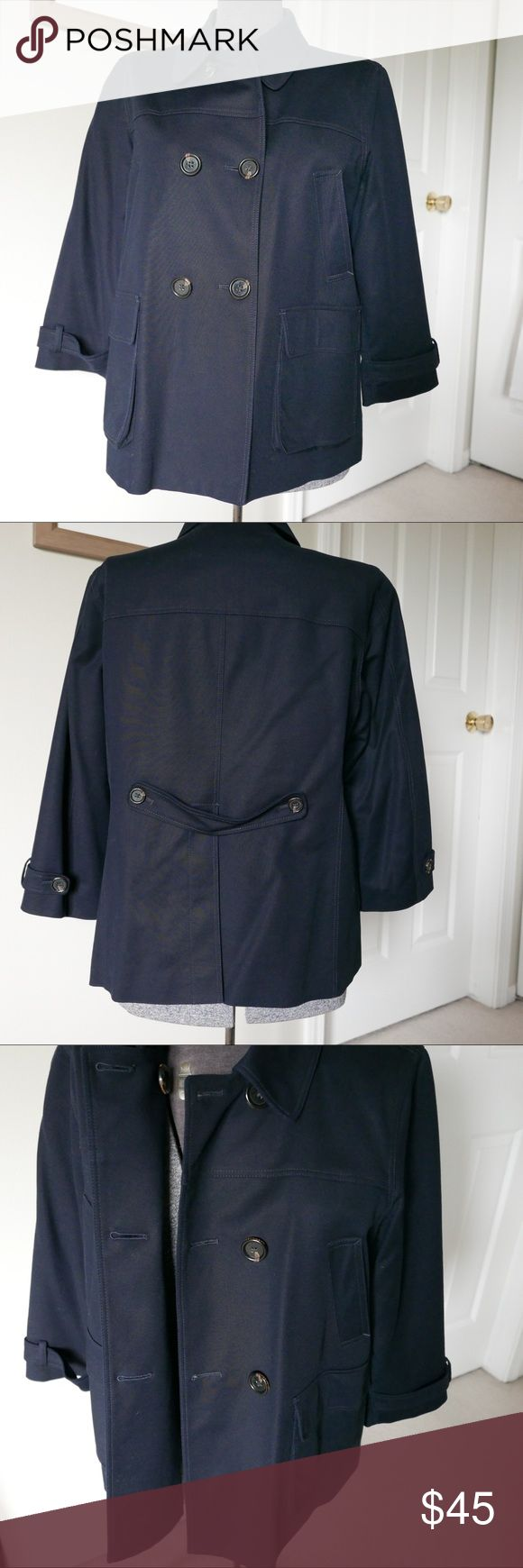 Navy pea coat Martin & Osa Beautiful tailored navy pea coat. 3/4 sleeves, tortoise buttons, great details. Great condition ( a few cat hairs will be present - no matter how hard I try I can't get them all off) Martin + Osa Jackets & Coats Pea Coats