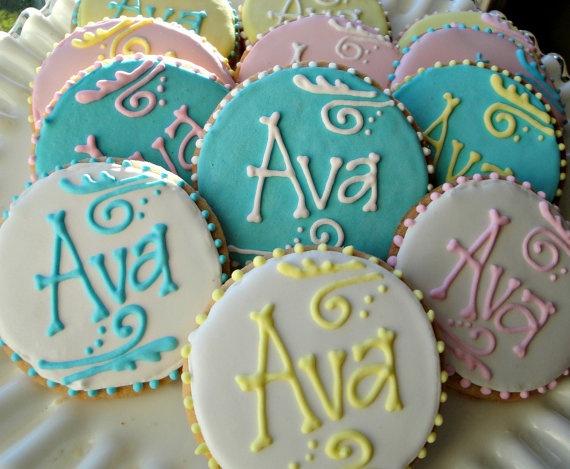 Monogram Cookies Name Cookies Baby Shower By Cookiecoterie