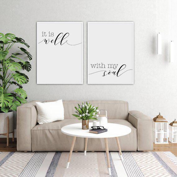 It Is Well With My Soul Printable Sign Set Digital Prints Quote