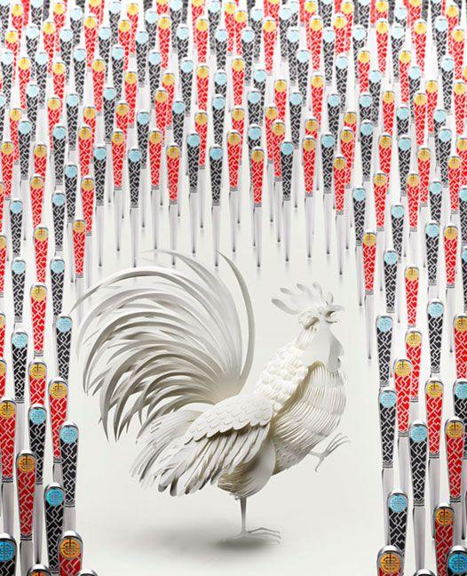 3D White Rooster Paper Art by Jo Lynn Alcorn for Shanghai Tang Catalog 2008