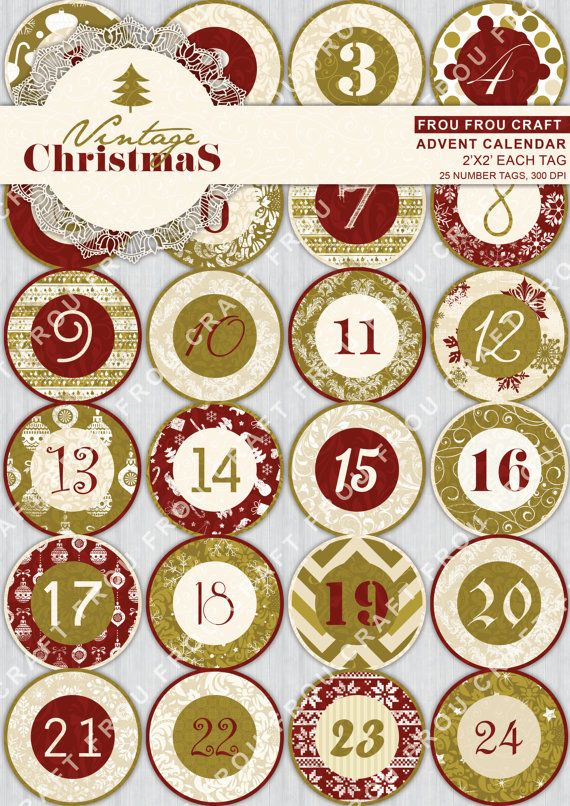 Advent Calendar Digital Instant Download 25 Santa by froufroucraft