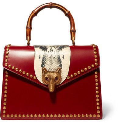 Gucci - Linea E Bamboo Elaphe-paneled Leather Tote - Red