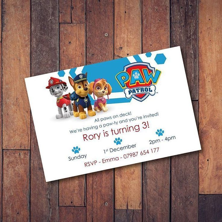 make your own birthday party invitations online for free%0A Paw Patrol Party Invitations x     Personalised  inc  envelopes   eBay