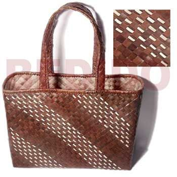 Native Bags Brown Banig Beach Bag L=14 In. W= 10 In. Base = 5.5 In ...