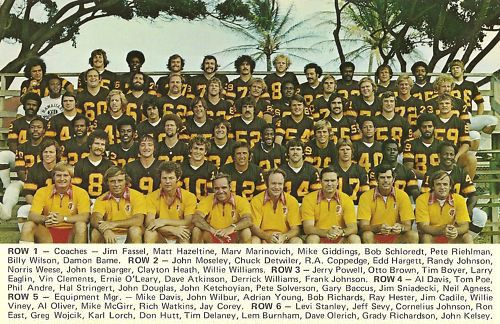 The 1974 Honolulu Hawaiians. Future New York Giants Head Coach Jim Fassel is in the front row, far left.