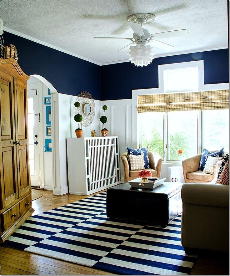 Navy And White Board Batten Living Room Design Paint Colors Paint Ideas And Living Room Designs