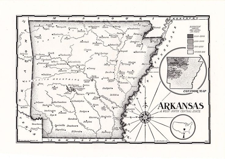 Old map of Arkansas, hand-drawn map in black and white, from a 1955 encyclopedia.