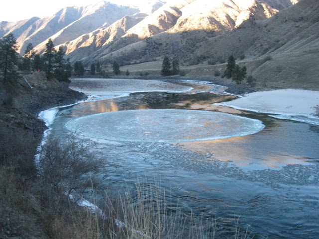 Ice Circle on Salmon River, in Riggins, Idaho