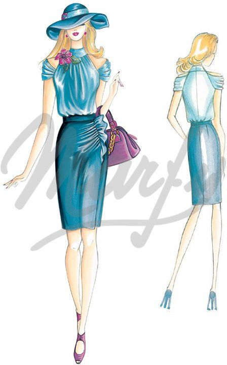 Model 2464 | Sewing Pattern Skirts  Tight fitting straight skirt, loosened by draping toward the hips that runs into an upward ruffle, cut with vent at the bottom. fabrics - crepe, satin, sallietta