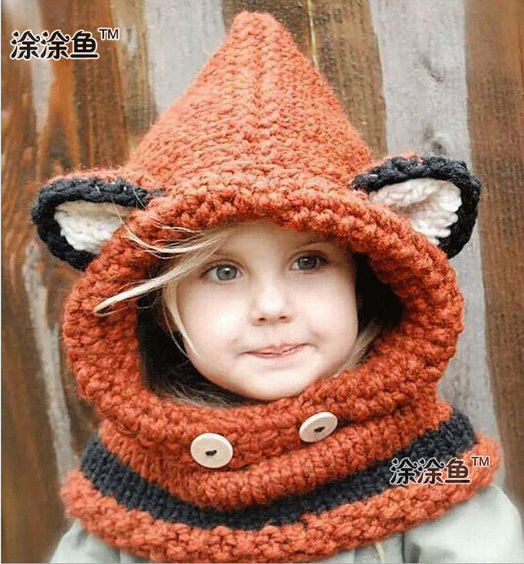 Barato Outono inverno Fox Animal bebê chapéus bonés crianças meninos meninas quente touca de lã de malha tampa chapéus da capa cachecol, Compro Qualidade Toucas e Bonés diretamente de fornecedores da China: