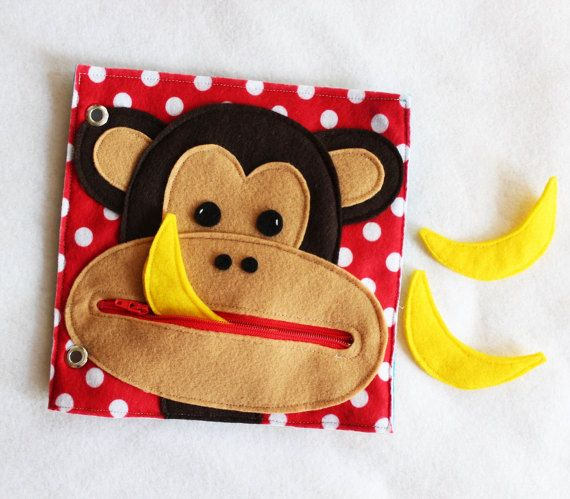 Hungry Monkey- Hand Made Quiet Book Page- A Single Page to Add to Your Custom Quiet Book