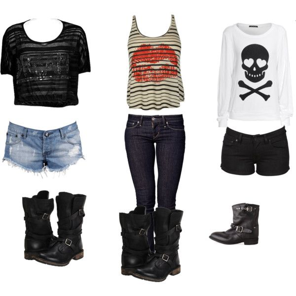 """3 Rocker Chic Outfits"" by flyerpen on Polyvore"