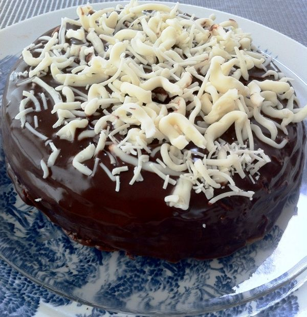 Rich Chocolate Genoise Cake, perfect for smuggling in a file into prison (secret message in code in the decoration) @Downton Abbey