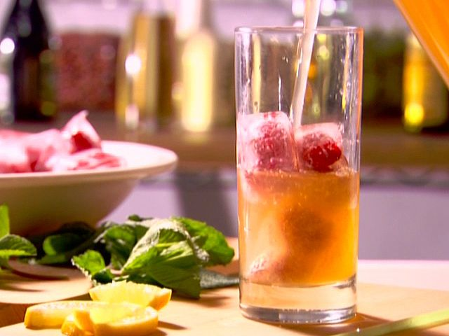 Lemon-Ginger Iced Tea with Berry Cubes Recipe : Ellie Krieger : Food ...