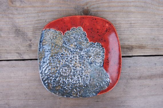 A breakfast plate in red and silver lace,lace pottery dish,silver plate,great gift idea,ceramic dish, square plate,ceramic dessert dish by GlinianaKoniczynka