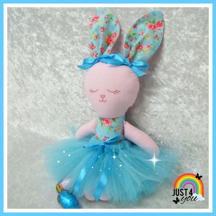 Pretty fabric bunny doll with her removable tutu  :) http://www.facebook.com/Just4YouNZ